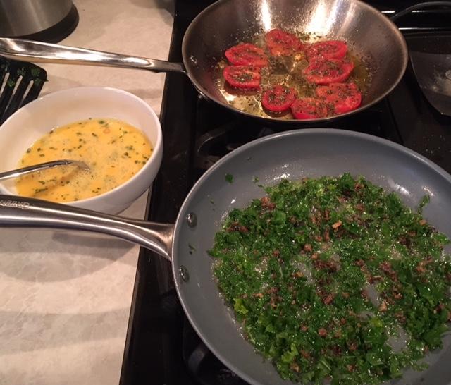 Morel and Kale Egg Scramble and Pan Roasted Tomatoes